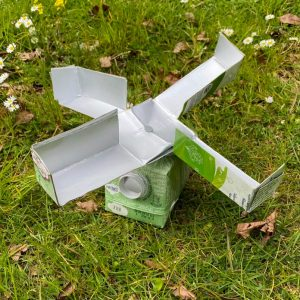 A wind 'spinner' made from a re-used drinks carton